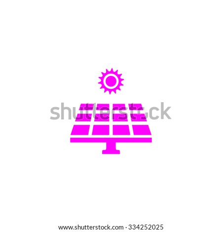 Solar energy panel. Pink flat icon. Simple vector illustration pictogram on white background - stock vector