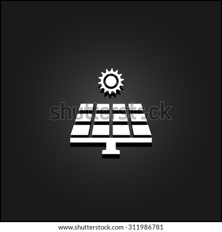Solar energy panel. White flat simple vector icon with shadow on a black background - stock vector
