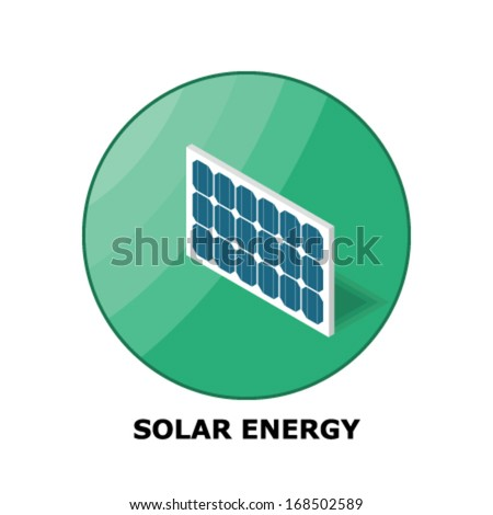 Solar Energy, Renewable Energy Sources - Part 2  (both circle and square version is available in the vector file) - stock vector