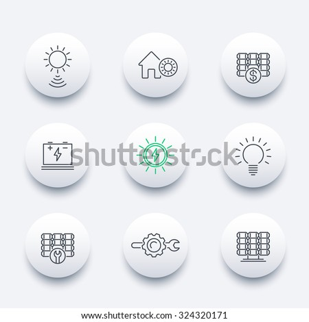 Solar energy, solar panels, plant, line round modern icons, vector illustration