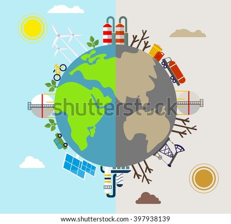 Solar energy, wind energy. Dirty city, factories, air pollution. Earth Day. World environment day. Ecology design concept with air, water and soil pollution. Flat icons isolated vector illustration.