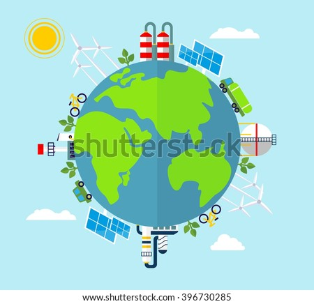Solar energy, wind energy. Dirty city, factories, air pollution, landfill. Image for Earth Day, World environment day. Ecology design concept. Flat icons isolated vector illustration.