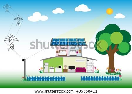 Solar for renewable energy concept - stock vector