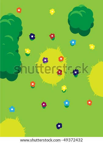 Solar glade with blossoming colors and trees around - stock vector