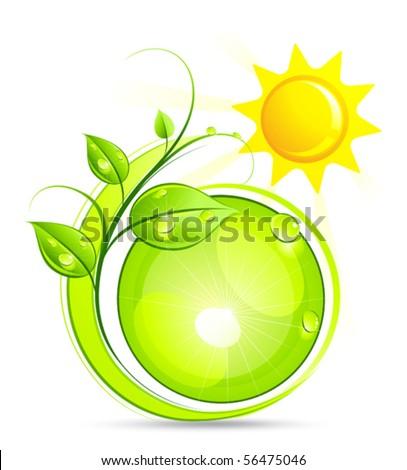 Solar green composition - stock vector