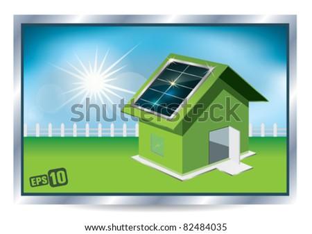 Solar house - stock vector