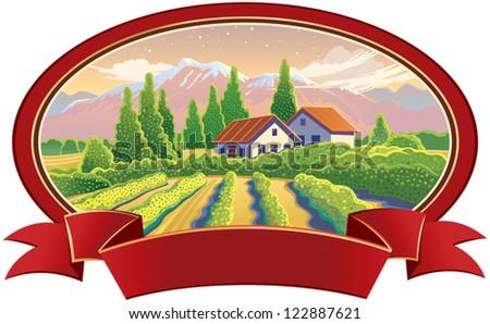 Solar landscape with vineyard - stock vector