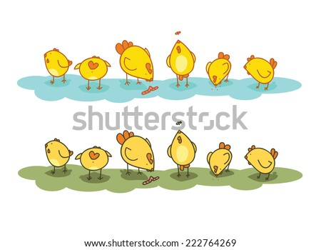 Solar lawn with chickens. they are looking for a different meal.  - stock vector