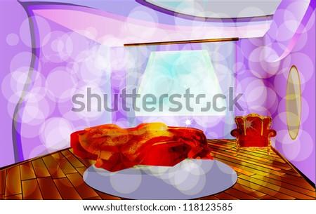 Solar morning. A room interior. A bed, an armchair, a mirror, a parquet, a carpet. EPS 10 - stock vector