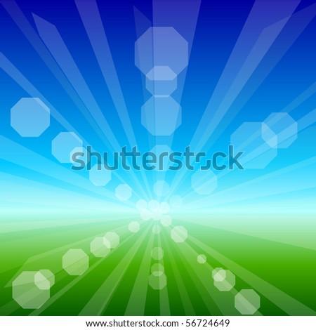 Solar nature background. Vector illustration. - stock vector