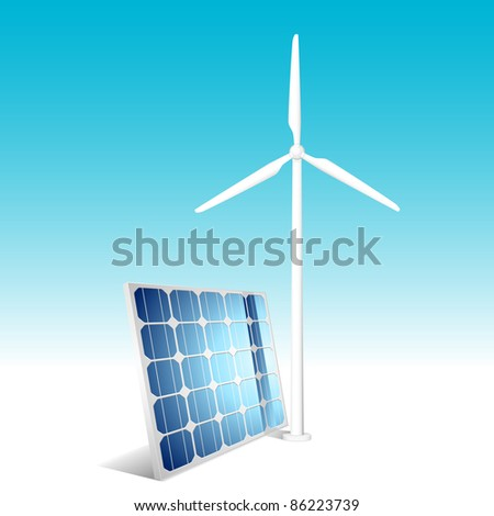Solar panel and wind generator. Vector illustration. - stock vector
