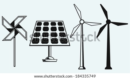 Solar panel and windmill. Isolated on blue background - stock vector