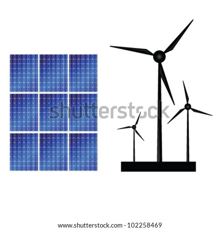 solar panel and windmills for energy vector illustration - stock vector