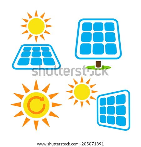 Solar panel - eco eergy icons set - stock vector