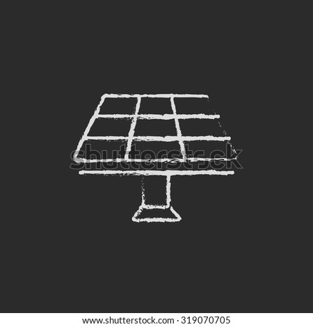 Solar panel hand drawn in chalk on a blackboard vector white icon isolated on a black background. - stock vector