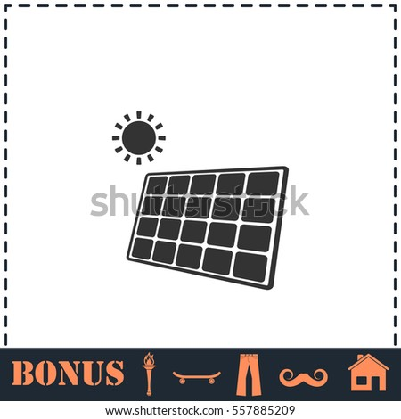 Solar panel icon flat. Simple vector symbol and bonus icon