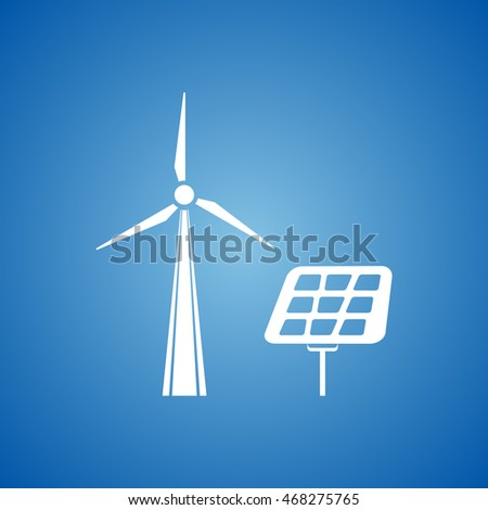 Solar Panel Icon on blue color.