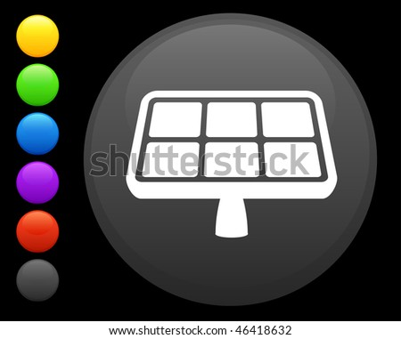 solar panel icon on round internet button original vector illustration 6 color versions included - stock vector