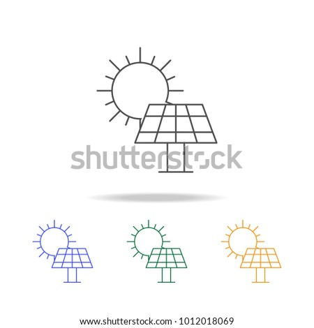 Solar panel icons. Element of ecology for mobile concept and web apps. Thin line  icon for website design and development, app development. Premium multicolor icons on white background