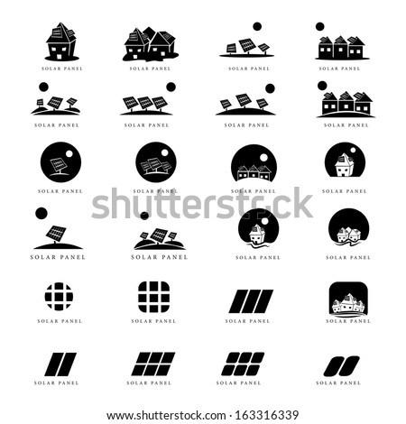 Solar Panel Icons Set - Isolated On White Background - Vector Illustration, Graphic Design Editable For Your Design - stock vector