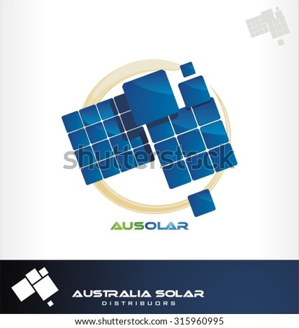 Solar panel in Australia form, solar panel, solar energy. Solar symbols, icons and signs set. - stock vector