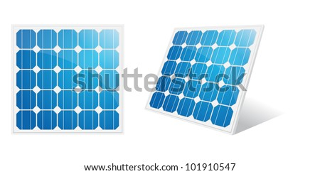 Solar panel isolated on a white. Vector illustration.
