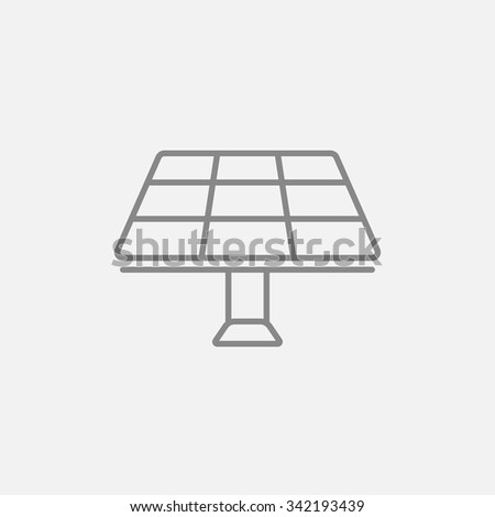 Solar panel line icon for web, mobile and infographics. Vector dark grey icon isolated on light grey background. - stock vector