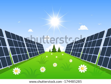 Solar panel produces green energy from the sun.  - stock vector