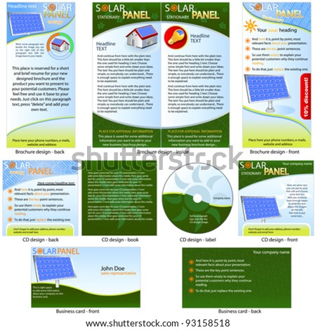 Solar Panel Stationary - brochure design, CD cover design and business card design in one package and fully editable. - stock vector