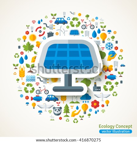 Solar Panel symbol flat sticker. Vector concept illustration with icons of ecology, environment, green energy and pollution. Save the planet. Eco Technology. - stock vector