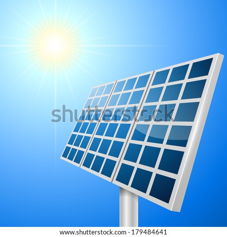 Solar panel vector illustration with bright sun background. - stock vector