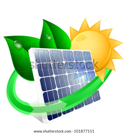 Solar panel with green leafs, renewable energy concept. Vector illustration - stock vector