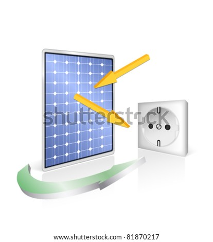 Solar panel with socket - photovoltaic technology - green power and energy concept - vector eco design - stock vector