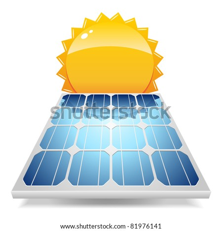 Solar panel with sun.Vector illustration. - stock vector