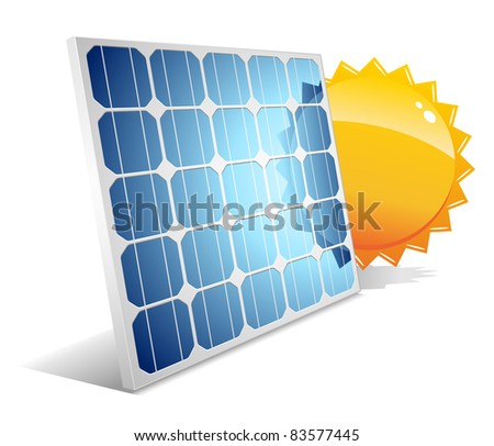 Solar panel with sun.Vector illustration. - stock vector