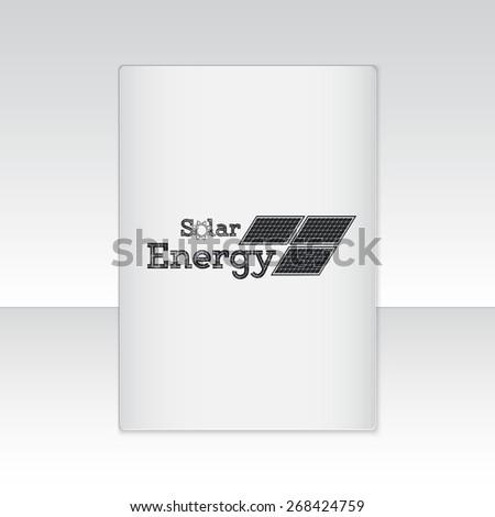Solar Panels. Alternative Eco Energy. Sheet of white paper. Typographic Badges. Flat vector illustration - stock vector