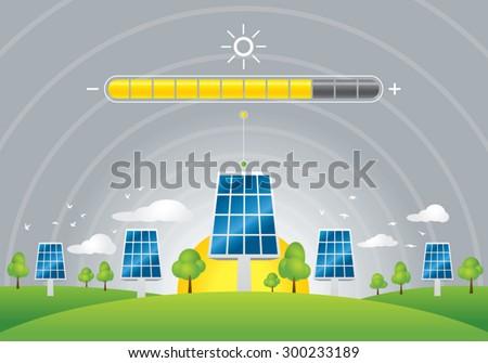 Solar panels energy charging  - stock vector