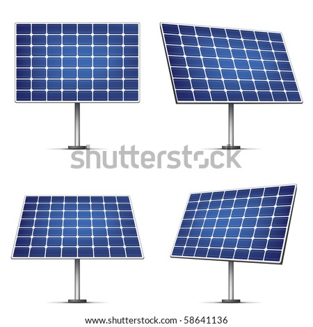 Solar Panels Isolated on White Background. Vector. - stock vector