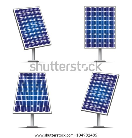 Solar panels isolated on white. Editable vector illustration. - stock vector