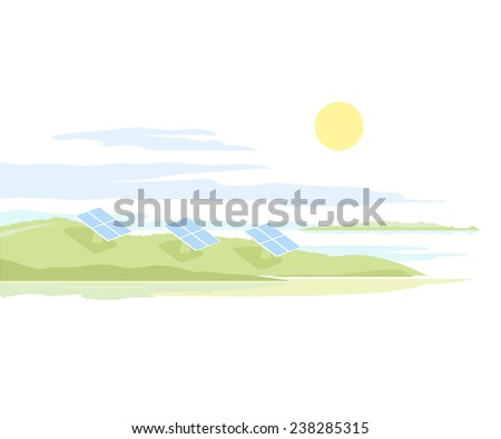 Solar panels, nature landscape ecology illustration, ecological concept, isolated - stock vector