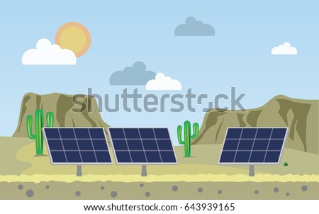 Solar panels on the background of mountains. Ecological energy. Vector illustration.