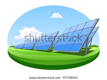 Solar panels, vector illustration - stock vector