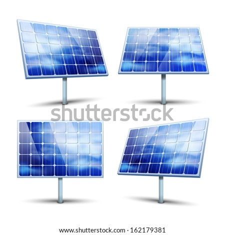 Solar panels vector illustration isolated on white
