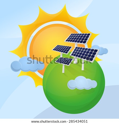 Solar plant in green planet with giant sun background. - stock vector