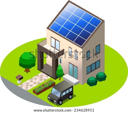 solar power house - stock vector