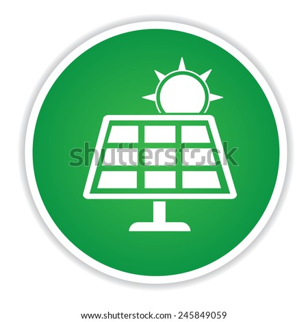 Solar power  icon on green button background,clean vector - stock vector