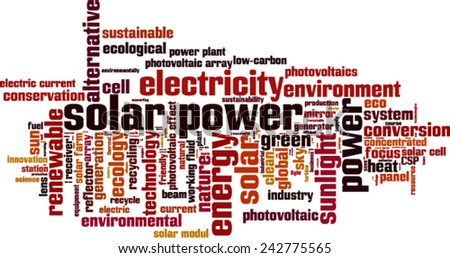 Solar power word cloud concept. Vector illustration - stock vector