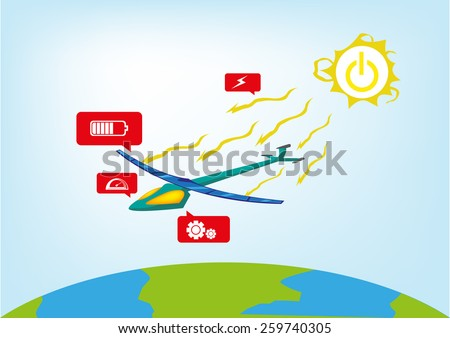 Solar-Powered Plane Travels around the world relying from massive rechargeable solar panels and sun's energy. Plane design and color does not infringe any copyright or trademark. Vector. - stock vector