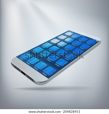Solar Powered Smartphone Concept. Silver smartphone with solar panel apps taking up all of the home screen. Layered file for ease of customization. Fully scalable vector illustration. - stock vector