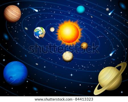 Solar system - stock vector
